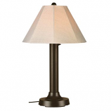 Seaside Bronze Outdoor Table Lamp with Antique Beige Linen Shade