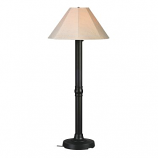 Seaside Black Outdoor Floor Lamp with Antique Beige Linen Shade