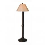Seaside Bronze Outdoor Floor Lamp with Antique Beige Linen Shade