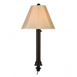 Umbrella Black Tube Table Lamp with Antique Beige Linen Shade