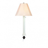 Umbrella White Tube Table Lamp with Antique Beige Linen Shade