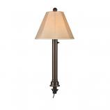 Umbrella Bronze Tube Table Lamp with Antique Beige Linen Shade
