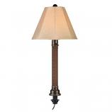 Umbrella Red Castagno Wicker and Bronze Tube Table Lamp
