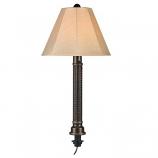 Umbrella Dark Mahogany Wicker and Bronze Tube Table Lamp