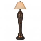 Monterey Outdoor Floor Lamp with Antique Beige Linen Sunbrella Shade