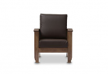 Walnut Brown Wood and Dark Brown Faux Leather 1-Seater Lounge Chair