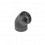 "Heat-Fab 6"" Black 45 Degree Corrugated Elbow Nonadjustable"