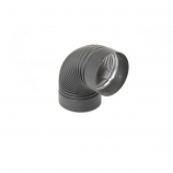 "Heat-Fab 7"" Black 90 Degree Corrugated Elbow Nonadjustable"