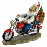 "10.5""H Old School Father Christmas Santa Biker Statue By Design Toscano"