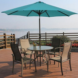 Aluminum Patio Table Umbrella with Push Button Tilt & Crank, Turquoise