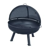 """24"""" Round Fire Pit with Round 4 Leg Base, SS Pivot Screen and Grate"""