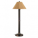 "Bahama Weave 60"" Dark Mahogany Wicker Outdoor Floor Lamp"