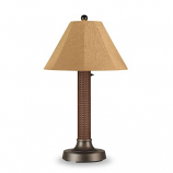 """26173- Bahama Weave 34"""" Red Castagno Wicker Outdoor Table Lamp"""