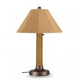 "26174- Bahama Weave 34"" Mocha Cream Wicker Outdoor Table Lamp"