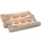 Regal Flame LW4206 Tealight 24in Fireplace Log Candle Holder Insert - Birch