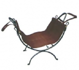 Wrought Iron Wood Holder With Leather Carrier