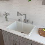 "ALFI AB2418UD 24"" White Undermount / Drop In Fireclay Kitchen Sink"