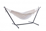 Combo - Double Deluxe Natural with Fringe Hammock with Stand- 9ft