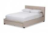 Contemporary Beige Fabric Upholstered King Size Storage Platform Bed