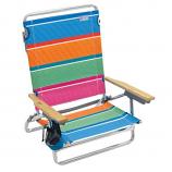 Rio Beach 5-Position Lay Flat Designer Beach Chair - Multi Stripe