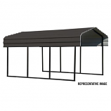 Steel Carport 10 x 24 x 7 ft. Galvanized Black/Charcoal