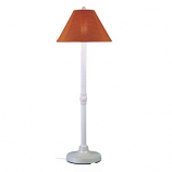 San Juan White Outdoor Floor Lamp with Chili Linen Shade