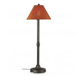 San Juan Bronze Outdoor Floor Lamp with Chili Linen Shade