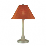 """San Juan 34"""" Bisque Outdoor Table Lamp with Chili Linen Shade"""