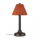 """San Juan 30"""" Bronze Outdoor Table Lamp with Chili Linen Shade"""