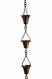 Antique Copper Fluted Cup Rain Chain -4.25