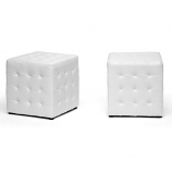 Set of 2 Siskal White Modern Cube Ottoman