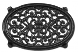 Matte Black Oval Filigree Steamer Trivet