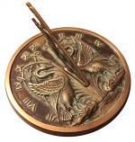 Rome Brass Swan Sundial - Solid Brass with Verdigris Highlights