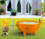 Round Fire Burning Portable Outdoor Hot Tub, Orange
