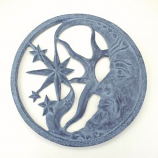 Celestial Wall Hanging Plaque in Aluminum with Patina Finish