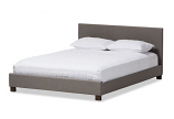 Grey Fabric Upholstered Panel-Stitched Full Size Platform Bed