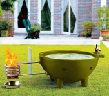 Round Fire Burning Portable Outdoor Hot Tub, Green