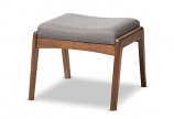 Modern Walnut Wood Finishing and Grey Fabric Upholstered Ottoman