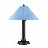 Catalina Black Outdoor Table Lamp with Sky Blue Shade