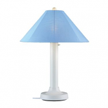 Catalina White Outdoor Table Lamp with Sky Blue Shade