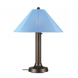 Catalina Bronze Outdoor Table Lamp with Sky Blue Shade