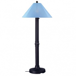 Catalina Black Outdoor Floor Lamp with Sky Blue Shade