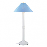 Catalina White Outdoor Floor Lamp with Sky Blue Shade