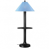 Catalina Black Outdoor Floor Table Lamp with Sky Blue Shade