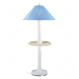 Catalina White Outdoor Floor Table Lamp with Sky Blue Shade