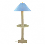 Catalina Bisque Outdoor Floor Table Lamp with Sky Blue Shade