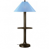 Catalina Bronze Outdoor Floor Table Lamp with Sky Blue Shade