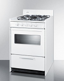 "24"" wide gas range in white oven window and electronic ignition"