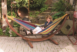 Double Cotton Hammock with Solid Pine Arc Stand - Tropical 8ft