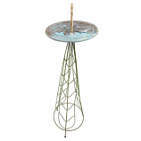 Rome Leaves Sundial Pedestal Base - Wrought Iron with Verdi Finish